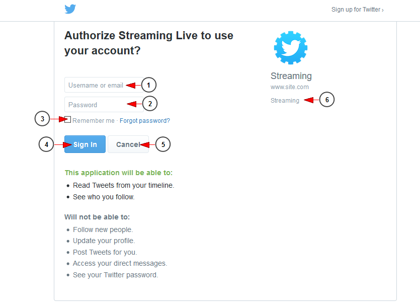 Register using your Twitter account | Live Streaming manual V6 0