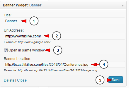 activate wordpress widget banner