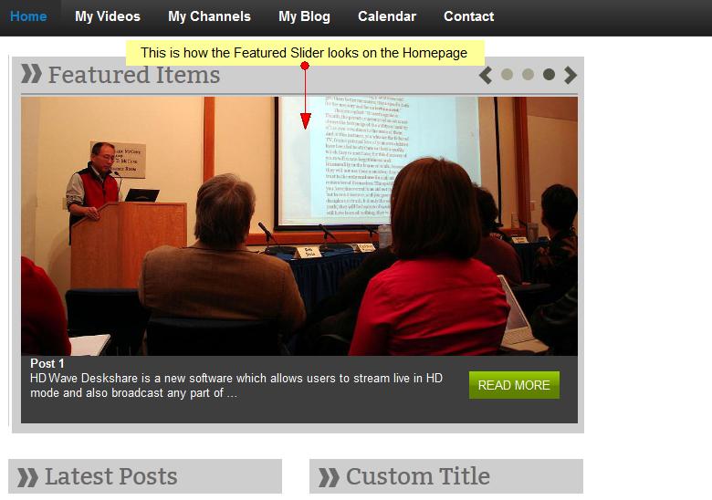 activate wordpress featured slider widget