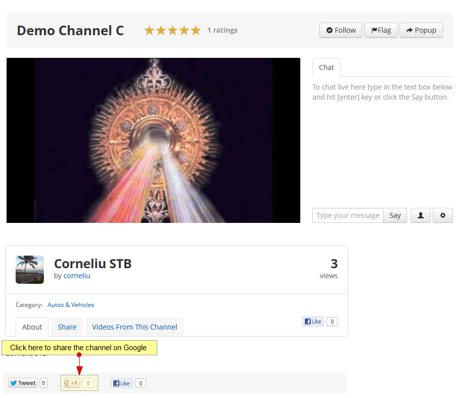 share channel google plus account