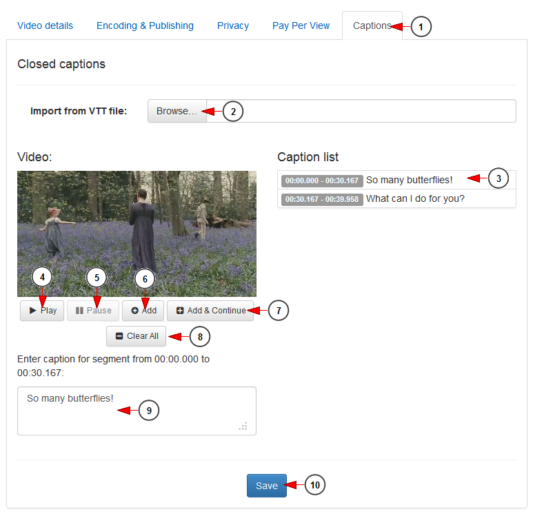 how to add open captions to video