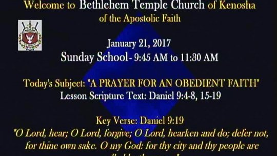 Sunday School Lesson - Bishop Jerry Baldwin, Pastor -  SS lesson -