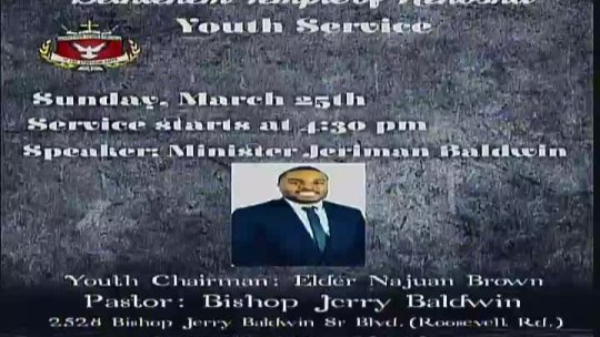 Youth Service (4th Sunday) - Minister Jeriman Baldwin -
