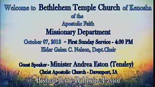 Missionary Service - Minister Andrea Eston-Tensley of Davenport, IA; Subject: