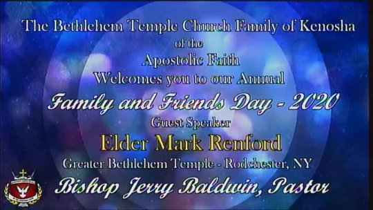 Annual FAMILY and FRIENDs with Elder Mark Renford of Albany New York; Subject