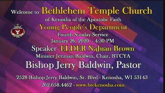 YOUTH SERVICE - Speaker Elder Najuan Brown - Jan 26, 2020 07:17 PM